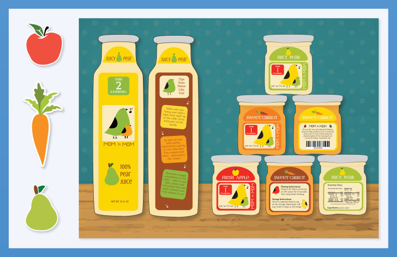 Mom to Mom Packaging: Concept, Illustration, & Layout